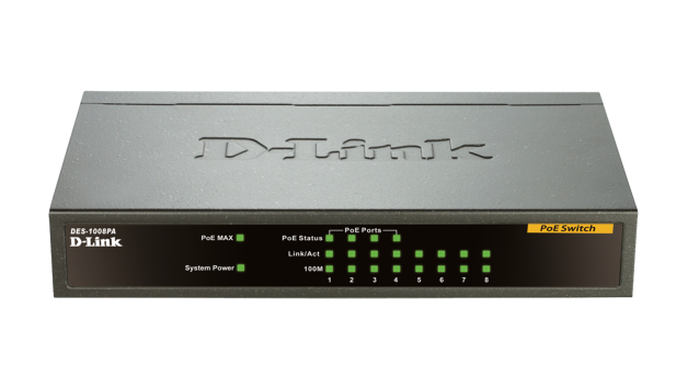 DLink DES-1008PA 8Port 10/100 Ethernet Switch with 4 PoE Ports