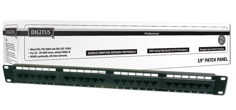 "DIGITUS 19"" CAT 6 patch panel 24-port DN-91624U"