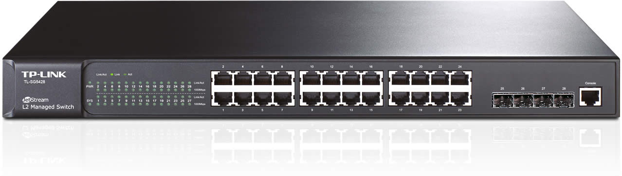 TP-LINK Switch 24PORT 10/100/1000 Rackmount TL-SG5428