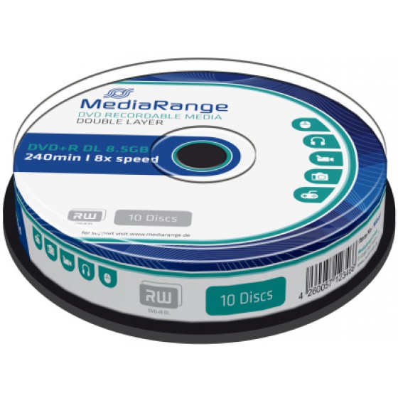 MediaRange DVD+R Dual Layer 240' 8.5GB 8x Cake Box x 10 MR466